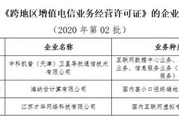 工信部刊出3家企业跨地区增值电信业务经营许可证